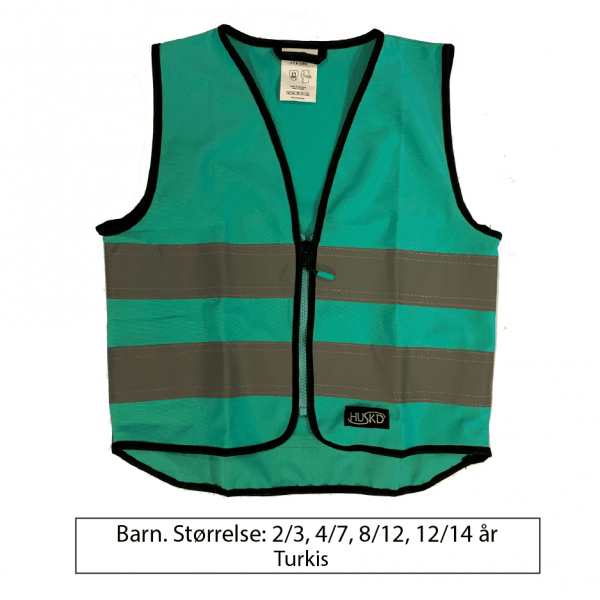 Turkis refleksvest for barn